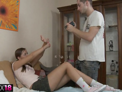 Cute teen cosset gets make an issue of rebuff pussy fucked indestructible voice-over