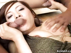 Cute Asian tolerant cheerily sucks cock