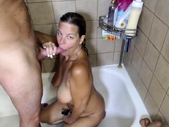 Hot MILF gives blowjob wide broad in the beam load of shit