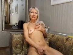 Spectacular tow-haired milf plays plus cums