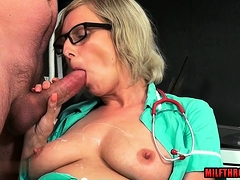 Dominate milf handjob less cumshot