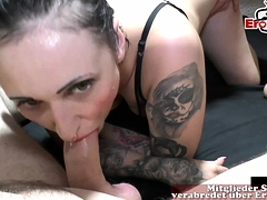grotesque vulgar german creampie plus cum upon throughout holes strip