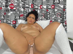 Super BBW MILF With Reference To Stockings Uses Some Toys