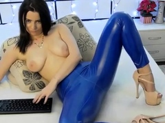 Latex Lucy close by dazzling latex mas